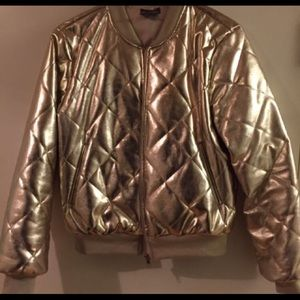 Jackets & Blazers - Quilted Gold Bomber Jacket